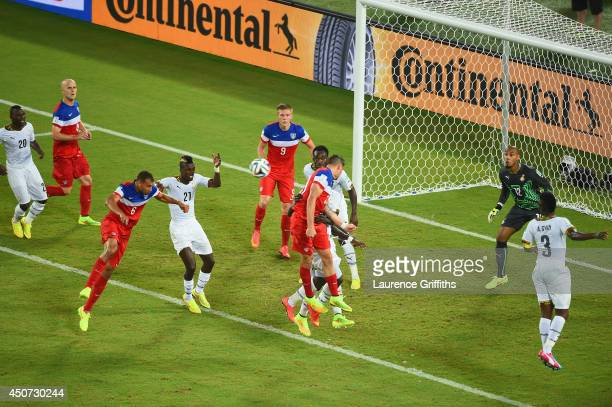 John Brooks of the United States scores his team's second goal on a header past Adam Kwarasey of Ghana during the 2014 FIFA World Cup Brazil Group G...