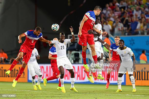 John Brooks of the United States scores the team's second goal during the 2014 FIFA World Cup Brazil Group G match between Ghana and USA at Estadio...