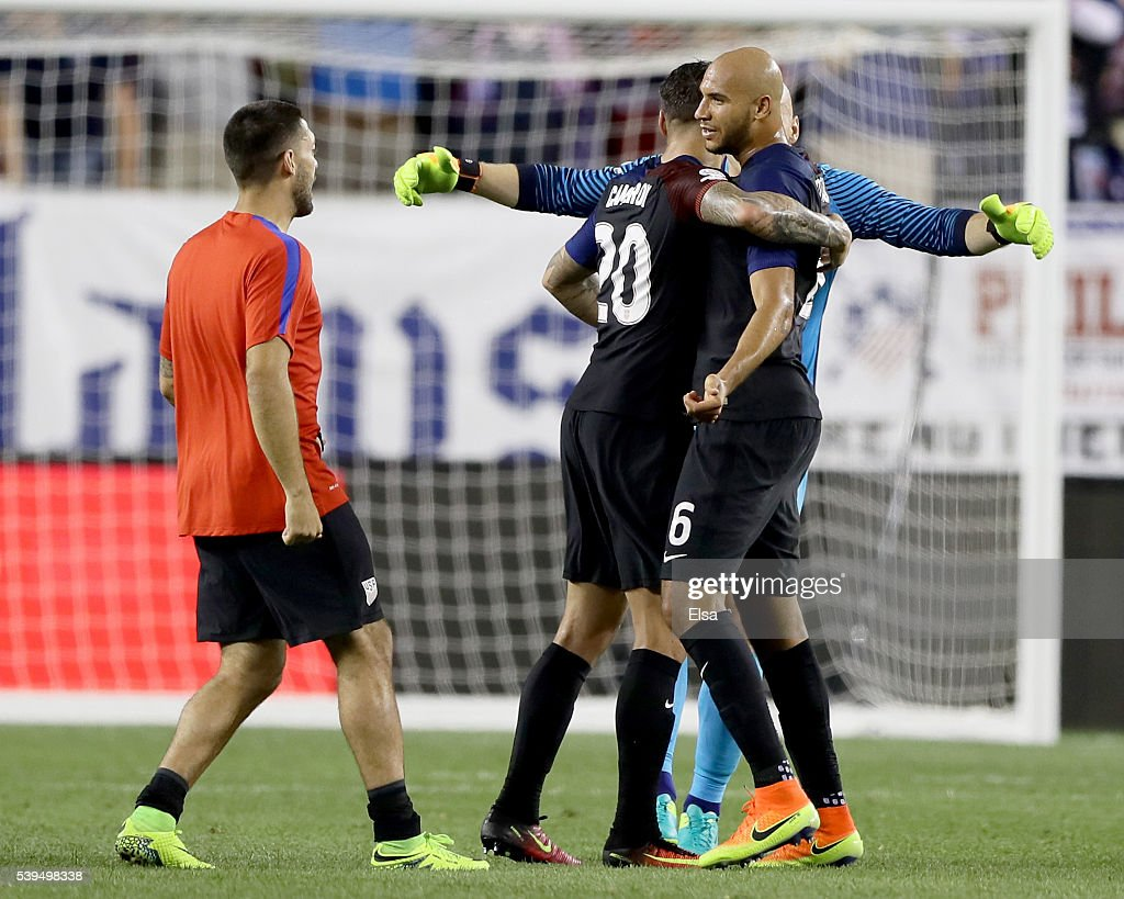 John Brooks #6,Brad Guzan #1 and Geoff Cameron #20 of United States celebrate the win over Paraguay after the Copa America Centenario Group C match at Lincoln Financial Field on June 11, 2016 in Philadelphia, Pennsylvania.The United States defeated Paraguay 1-0.
