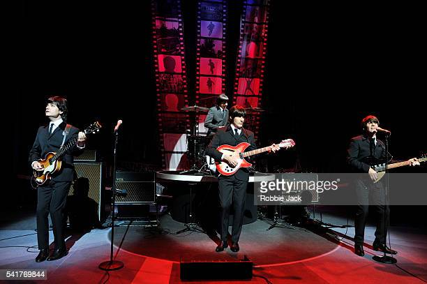 John Brosnan Michael Gagliano Ian B Curtis and Phil Martin in the production Let It Be directed by Joey Curatolo at the Prince of Wales Theatre in...