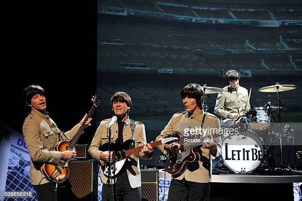 John Brosnan Michael Gagliano James Fox and Phil Martin in the production Let It Be directed by Joey Curatolo at the Prince of Wales Theatre in London
