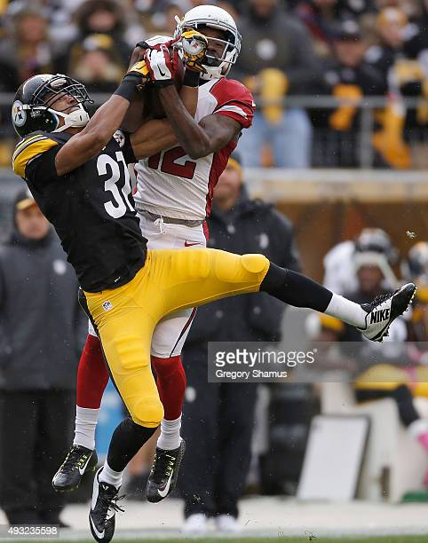 John Brown of the Arizona Cardinals catches a pass over Ross Cockrell of the Pittsburgh Steelers during the 1st quarter of the game at Heinz Field on...