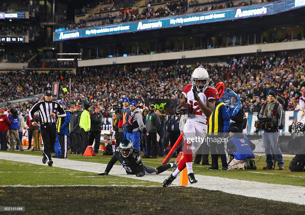 John Brown #12 of the Arizona Cardinals scores a touchdown in the third quater against the Philadelphia Eagles at Lincoln Financial Field on December 20, 2015 in Philadelphia, Pennsylvania.