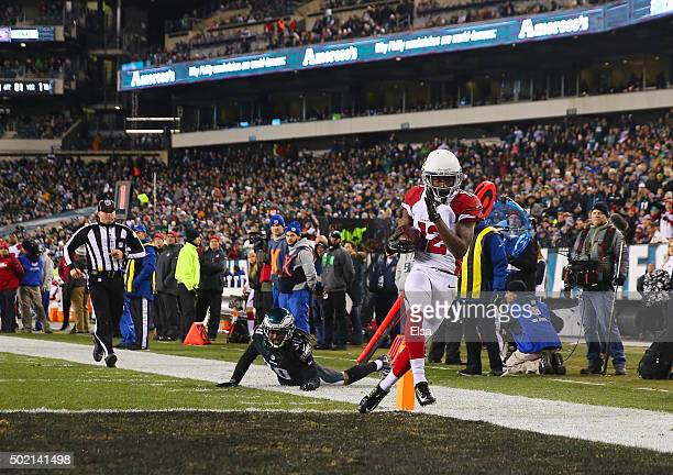 John Brown of the Arizona Cardinals scores a touchdown in the third quater against the Philadelphia Eagles at Lincoln Financial Field on December 20,...