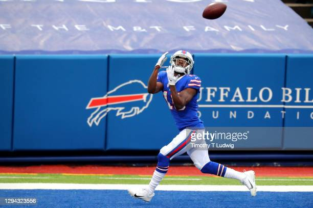 John Brown of the Buffalo Bills catches a touchdown pass from Josh Allen in the second quarter against the Miami Dolphins at Bills Stadium on January...