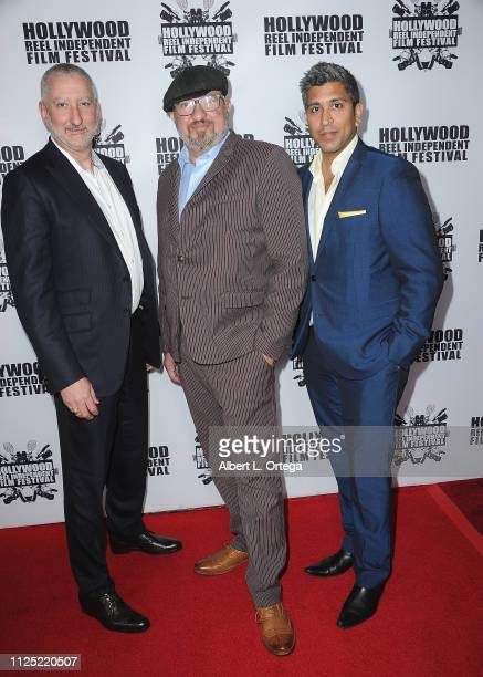 John Brunlik Stephen Endelman and Ajay Nayyar arrive for The 2019 Hollywood Reel Independent Film Festival held at Regal LA Live Stadium 14 on...