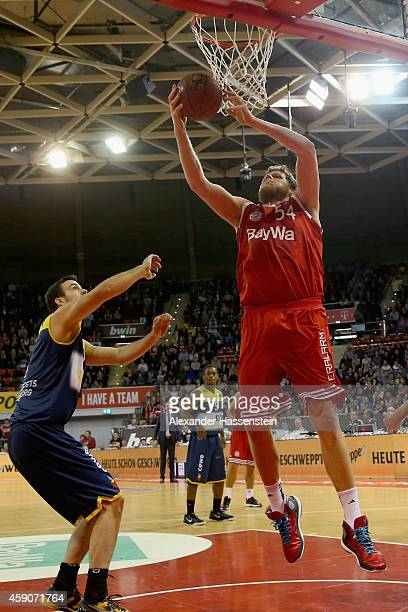 John Bryant of Muenchen scores a point during the Beko Basketball Bundesliga match between FC Bayern Muenchen and EWE Baskets Oldenburg at Audi-Dome...