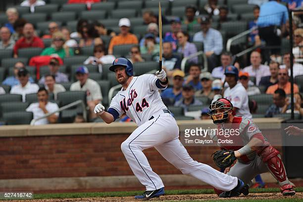 John Buck New York Mets with a broken bat that resembles a tooth pick during the New York Mets V Cincinnati Reds Baseball game at Citi Field Queens...