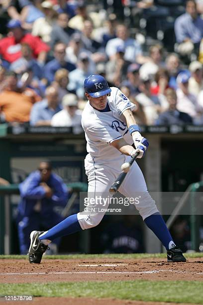 John Buck of the Kansas City Royals at the plate during action against the Minnesota Twins at Kauffman Stadium in Kansas City Missouri on April 27...
