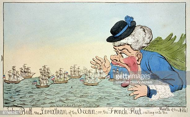 John Bull the leviathan of the ocean or the French fleet sailing into the mouth of the Nile A cartoon showing John Bull eating French sailing ships...