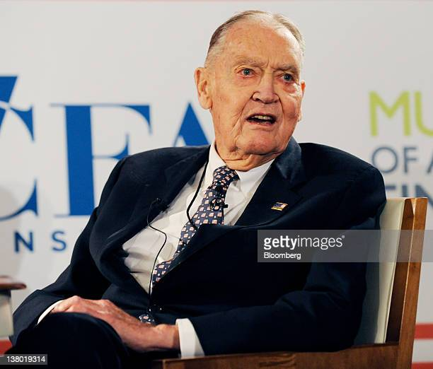 John C 'Jack' Bogle founder of the mutual fund company Vanguard Group Inc speaks during a panel discussion at the John C Bogle Legacy Forum named in...