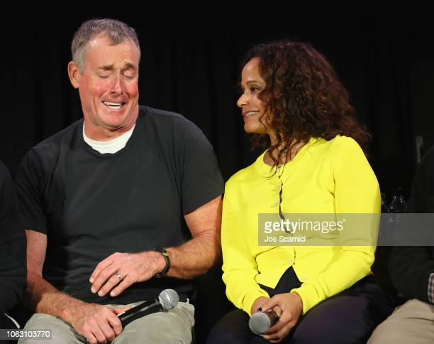 John C McGinley and Judy Reyes attend 'Scrubs Reunion' during Vulture Festival presented by ATT at Hollywood Roosevelt Hotel on November 17 2018 in...