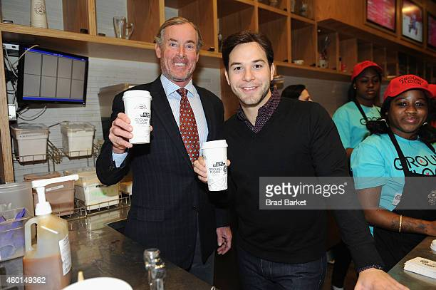 John C McGinley and Skylar Astin of the series 'Ground Floor' at Coffee Bean on December 08 2014 in New York City 25252_001_0073JPG