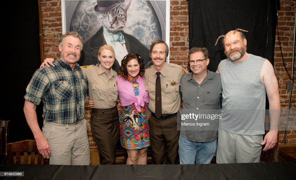 John C. McGinley, Janet Varney, Deborah Baker Jr., Nate Mooney, Dana Gould, and David Koechner attend the panel discussion for 'Stan Against Evil' on June 13, 2018 in Atlanta, Georgia.