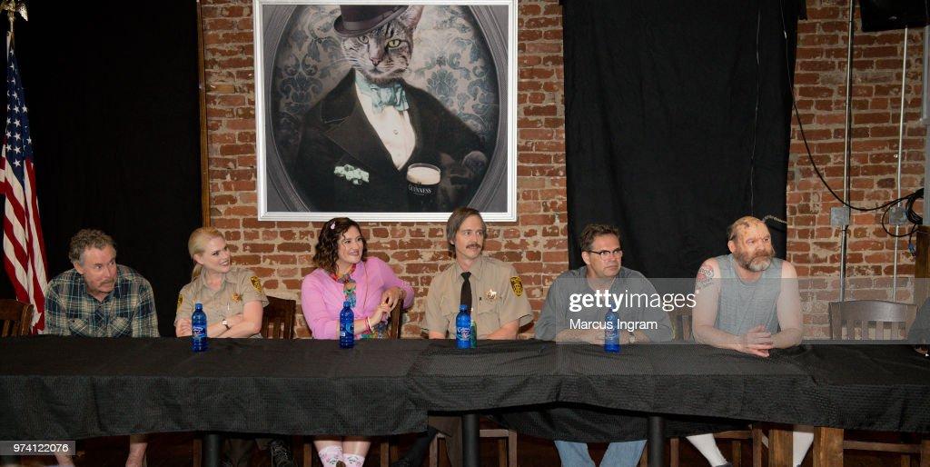 John C. McGinley, Janet Varney, Deborah Baker Jr., Nate Mooney, Dana Gould, and David Koechner on stage during the panel discussion of 'Stan Against Evil' set visit on June 13, 2018 in Atlanta, Georgia.
