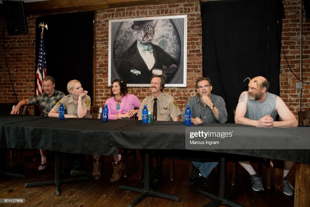 John C. McGinley, Janet Varney, Deborah Baker Jr., Nate Mooney, Dana Gould, and David Koechner on stage during the panel discussion of 'Stan Against Evil' set visit on June 13, 2018 in Atlanta, Georgia.