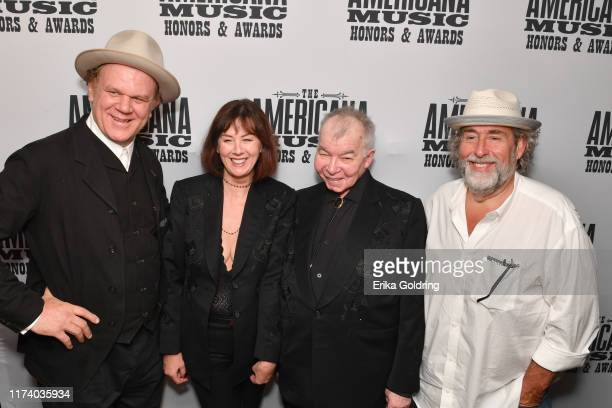 John C. Reilly, Fiona Whelan, John Prine and Dub Cornett seen backstage during the 2019 Americana Honors & Awards at Ryman Auditorium on September...