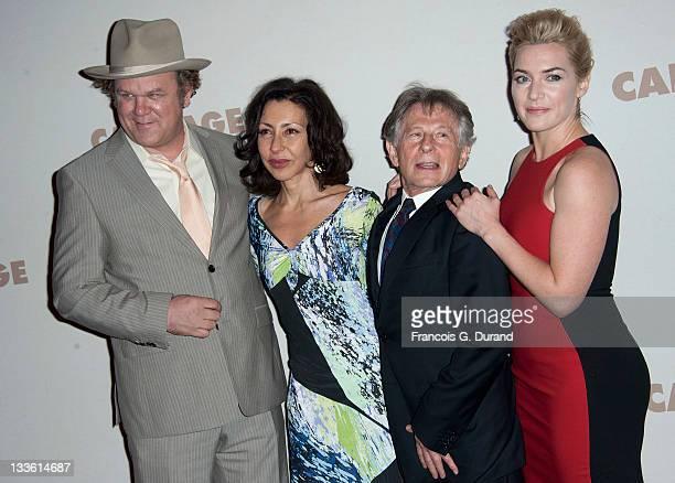 John C Reilly Yasmina Reza Roman Polanski and Kate Winslet attend the premiere of Carnage at Cinema Gaumont Marignan on November 20 2011 in Paris...