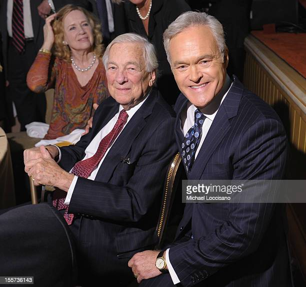 John C Whitehead and Scott Pelley attend the annual Freedom Award Benefit hosted by the International Rescue Committee at The Waldorf=Astoria on...