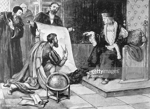 John Cabot explaining his voyage to King Henry VII Undated illustration
