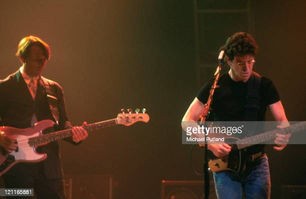 John Cale and Lou Reed of the Velvet Underground perform on stage London 1993
