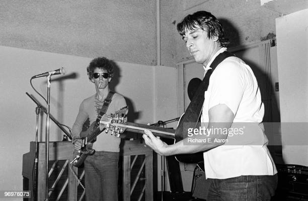John Cale and Lou Reed perform together in a rehearsal studio in New York in 1975