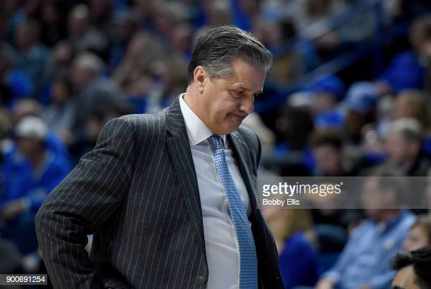John Calipari head coach of the Kentucky Wildcats reacts to a call during the second half of the game against the Georgia Bulldogs at Rupp Arena on...