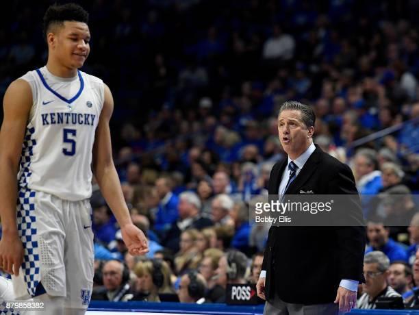 John Calipari head coach of the Kentucky Wildcats yells instructions to Kevin Knox of the Kentucky Wildcats during the second half of the game...