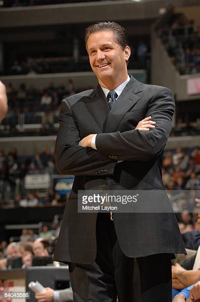 John Calipari, head coach of the Memphis State Tigers, smiles during a college basketball game against the Georgetown Hoyas on December 13, 2008 at...