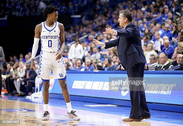 John Calipari the head coach of the Kentucky Wildcats gives instructions to De'Aaron Fox during the game against the Tennessee Martin Skyhawks at...
