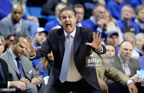 John Calipari the head coach of the Kentucky Wildcats gives instructions to his team during the game against the Grand Canyon Antelopes at Rupp Arena...