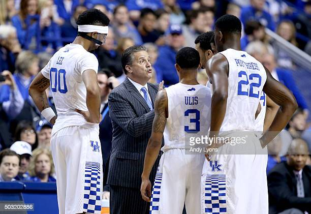 John Calipari the head coach of the Kentucky Wildcats gives instructions to his team against the Mississippi Rebels at Rupp Arena on January 2 2016...