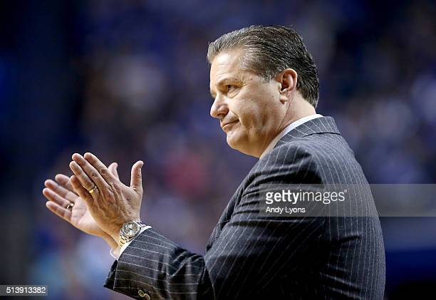 John Calipari the head coach of the Kentucky Wildcats gives instructions to his team in the game against the LSU Tigers at Rupp Arena on March 5 2016...