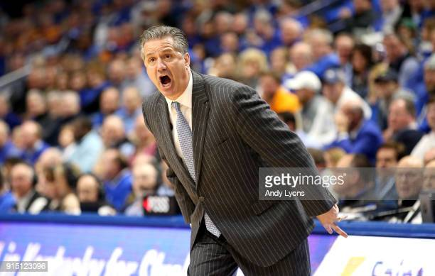 John Calipari the head coach of the Kentucky Wildcats gives instructions to his team against the Tennessee Volunteers during the game at Rupp Arena...
