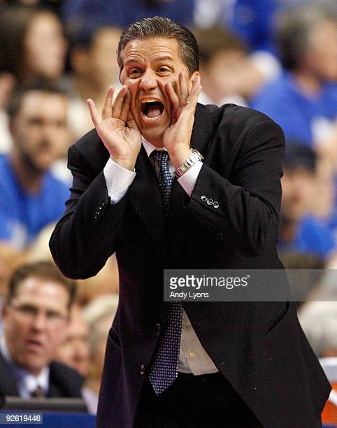 John Calipari the Head Coach of the Kentucky Wildcats gives instructions to his team during the game against the Campbellsville University Tigers at...