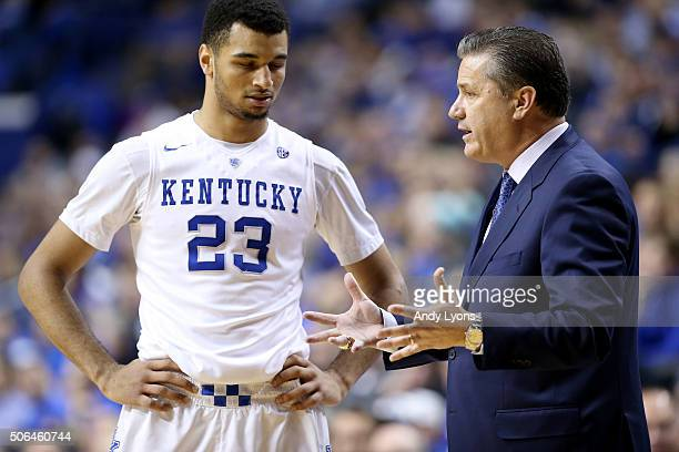 John Calipari the head coach of the Kentucky Wildcats gives instructions to Jamal Murray in the game against the Vanderbilt Commodores at Rupp Arena...