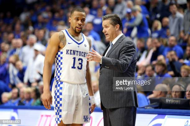 John Calipari the head coach of the Kentucky Wildcats gives instructions to Isaiah Briscoe against the Vanderbilt Commodores at Rupp Arena on...