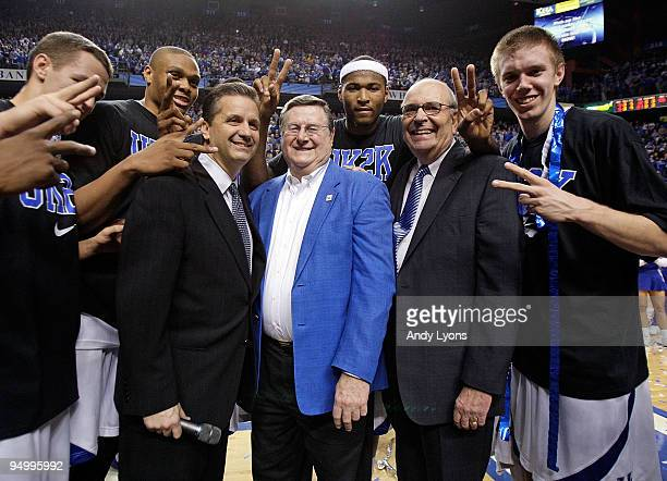John Calipari the Head Coach of the Kentucky Wildcats is pictured with Joe Hall and Herky Rupp after the 8844 victory over the Drexel Dragons at Rupp...