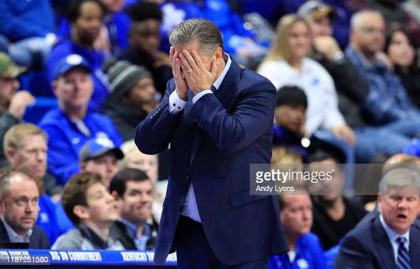 John Calipari the head coach of the Kentucky Wildcats reacts to a mistake by his team in the first half in the game against the Evansville Aces at...