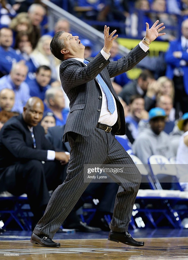 John Calipari the head coach of the Kentucky Wildcats reacts to a call during the game against the Boston Terriers at Rupp Arena on November 21, 2014 in Lexington, Kentucky.