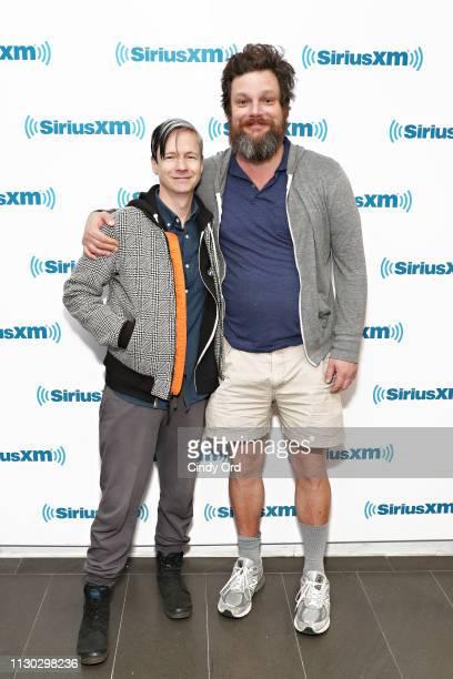 John Cameron Mitchell and Luka Jones visit the SiriusXM Studios on March 13, 2019 in New York City.