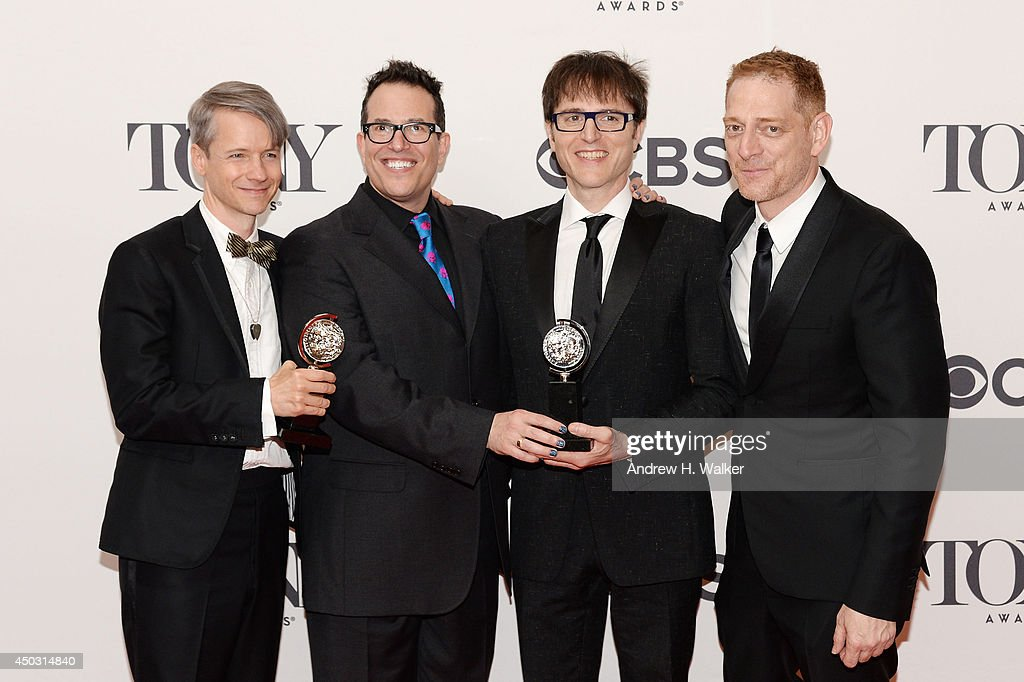 John Cameron Mitchell, Director Michael Mayer, Stephen Trask and Producer David Binder pose in the press room during the 68th Annual Tony Awards on June 8, 2014 in New York City.