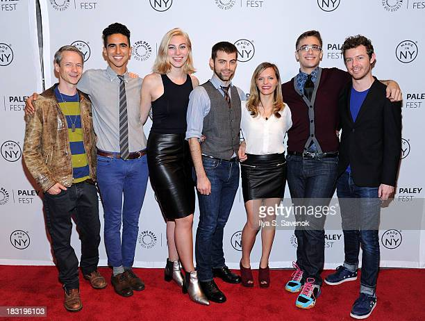 John Cameron Mitchell Dylan Marron Madeline Wise Tommy Heleringer Sasha Winters Adam Goldman and Hunter Canning attend the The Outs panel during 2013...