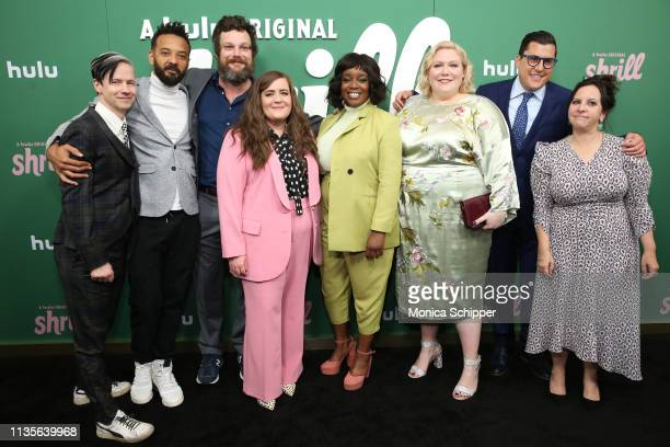 John Cameron Mitchell Ian Owens Luka Jones Aidy Bryant Lolly Adefope Lindy West Andrew Singer Ali Rushfield attend Hulu's 'Shrill' New York Premiere...