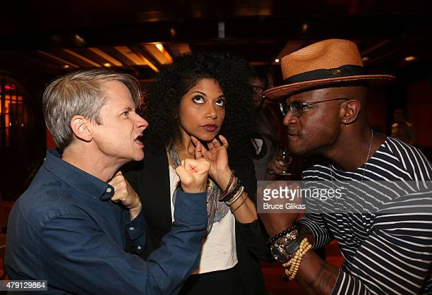 John Cameron Mitchell Rebecca Naomi Jones and Taye Diggs clown around at Hedwig And The Angry Inch new broadway cast photocall at The Lambs Club on...