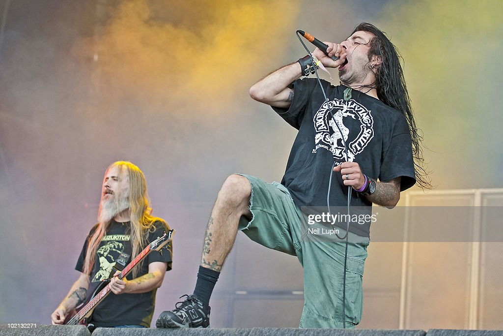 John Campbell and Randy Blythe of Lamb Of God perform on stage on the second day of the Download Festival at Donington Park on June 12, 2010 in Castle Donington, England.