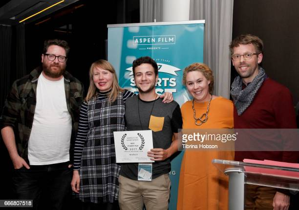 John Canciani Amy Nicholson Alejandro Roca Rey Ania Trzebiatowska and Florian Weghorn attend the 2017 Aspen Shortsfest Awards Dinner on April 9 2017...