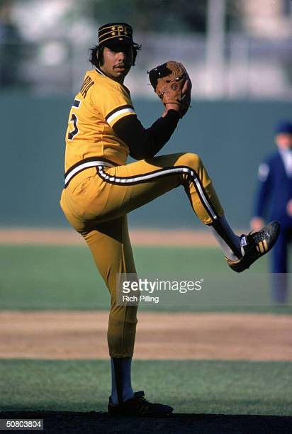 John Candelaria of the Pittsburgh Pirates winds up the pitch during a 1979 season game