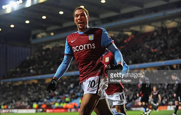 John Carew of Aston Villa celebrates scoring to make it 1-0 during the Barclays Premier League match between Aston Villa and Stoke City at Villa Park...