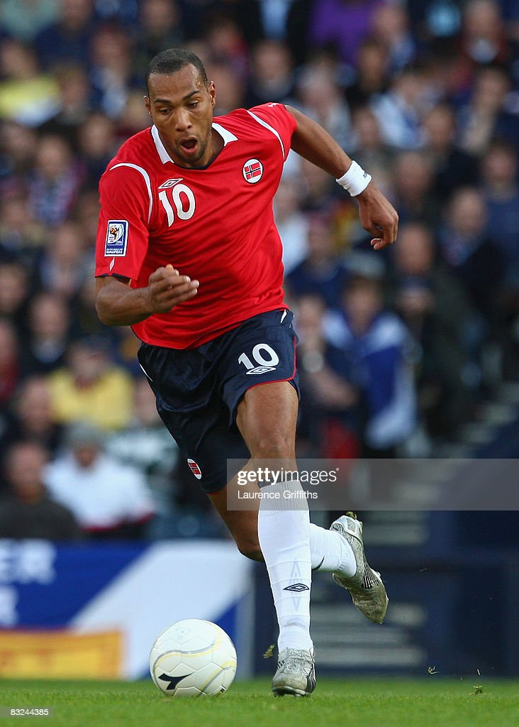 John Carew of Norway during the FIFA 2010 World Cup Qualifying Match between Scotland and Norway at Hampden Park on October 11, 2008 in Glasgow, Scotland.